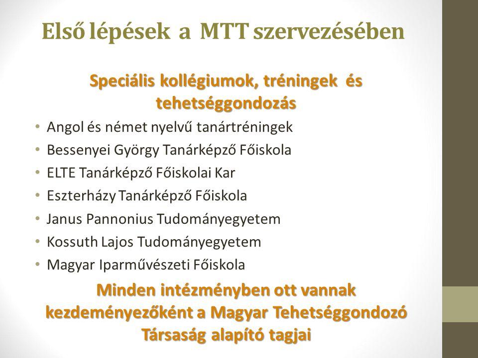 Első lépések a MTT szervezésében