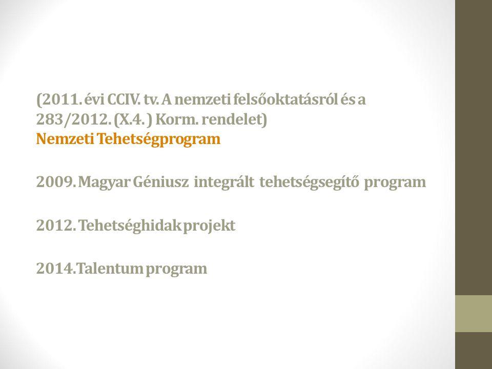 (2011. évi CCIV. tv. A nemzeti felsőoktatásról és a 283/2012. (X. 4
