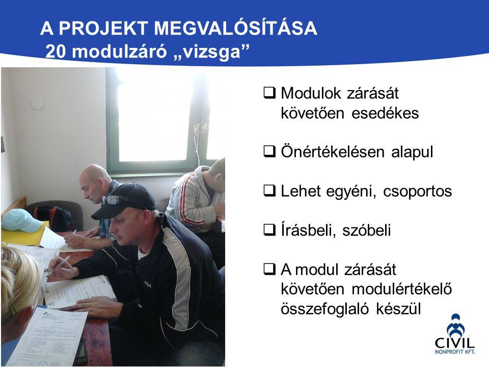 """A Projekt megvalósítása 20 modulzáró """"vizsga"""