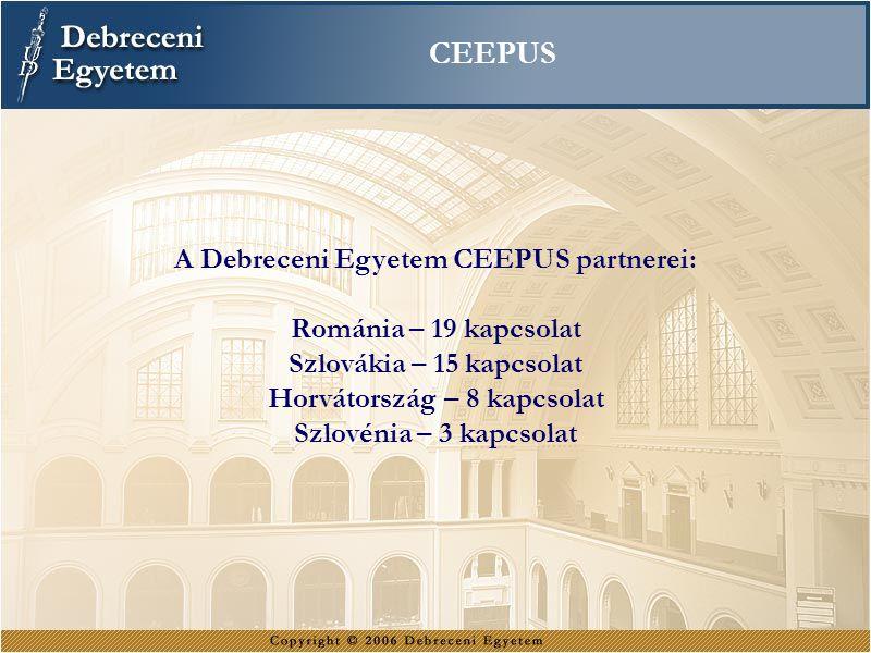 A Debreceni Egyetem CEEPUS partnerei: Horvátország – 8 kapcsolat
