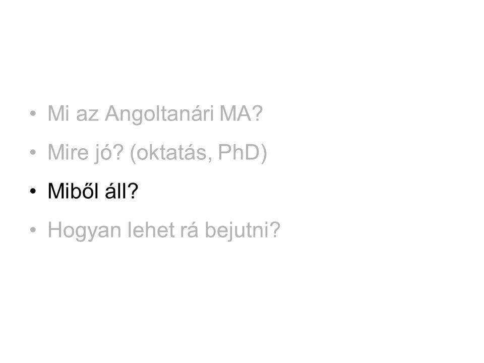 Mi az Angoltanári MA Mire jó (oktatás, PhD) Miből áll Hogyan lehet rá bejutni