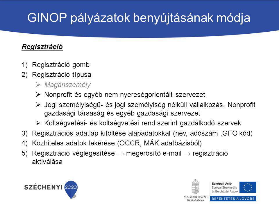 GINOP pályázatok benyújtásának módja