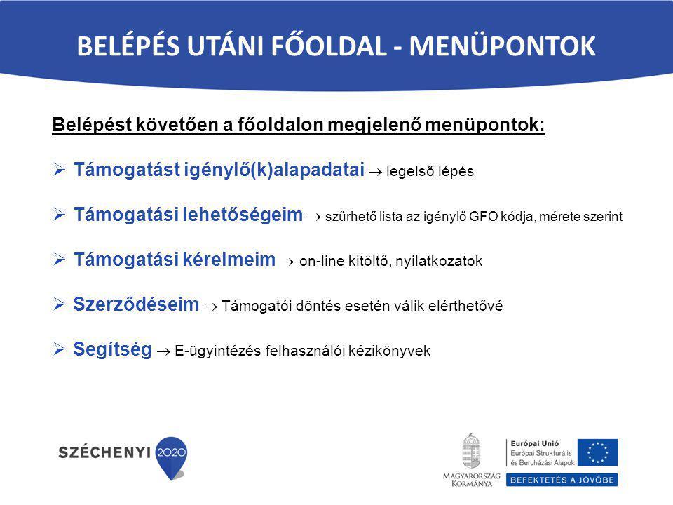 BELÉPÉS UTÁNI FŐOLDAL - MENÜPONTOK