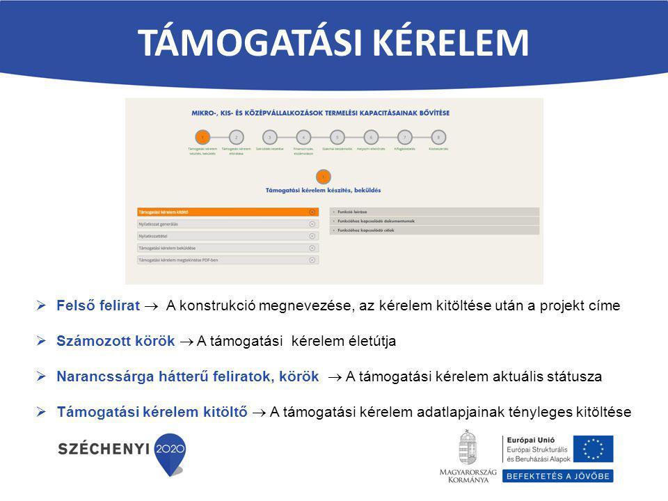 TÁMOGATÁSI kérelem Felső felirat  A konstrukció megnevezése, az kérelem kitöltése után a projekt címe.