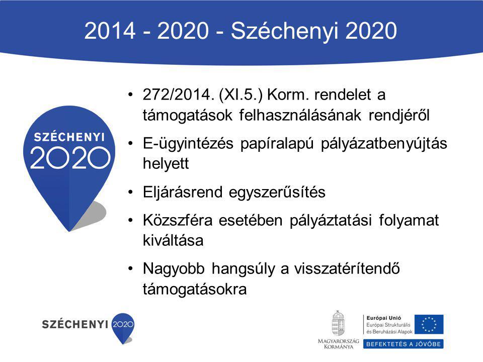 2014 - 2020 - Széchenyi 2020 272/2014. (XI.5.) Korm. rendelet a támogatások felhasználásának rendjéről.