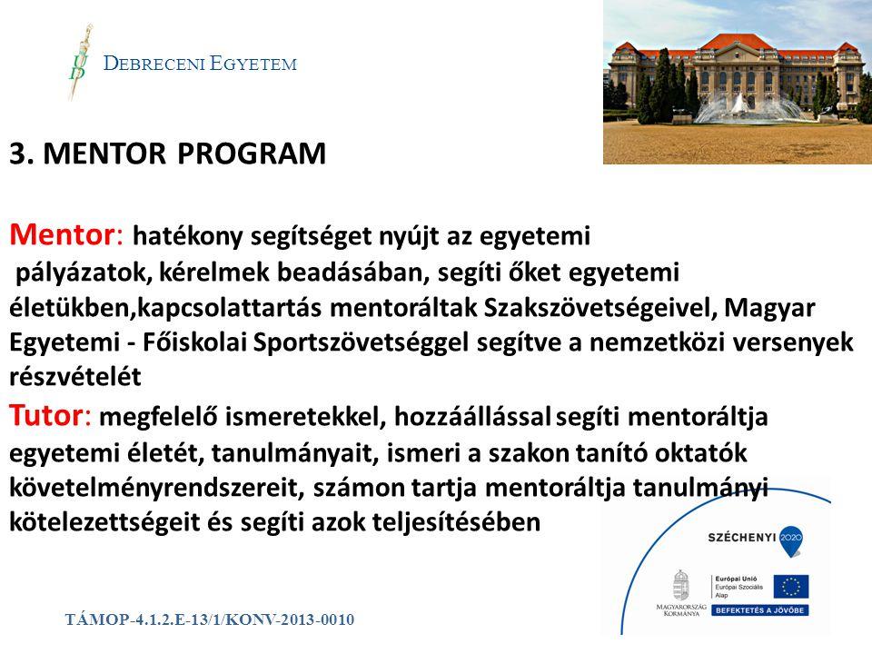 a 3. MENTOR PROGRAM Mentor: hatékony segítséget nyújt az egyetemi
