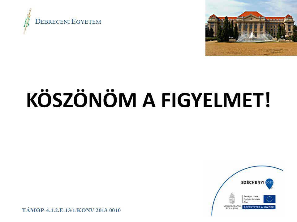 KÖSZÖNÖM A FIGYELMET! a Debreceni Egyetem