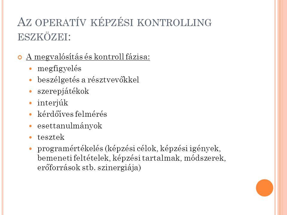 Az operatív képzési kontrolling eszközei: