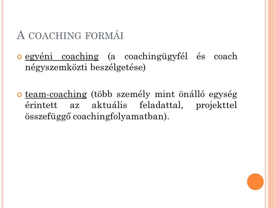 A coaching formái egyéni coaching (a coachingügyfél és coach négyszemközti beszélgetése)
