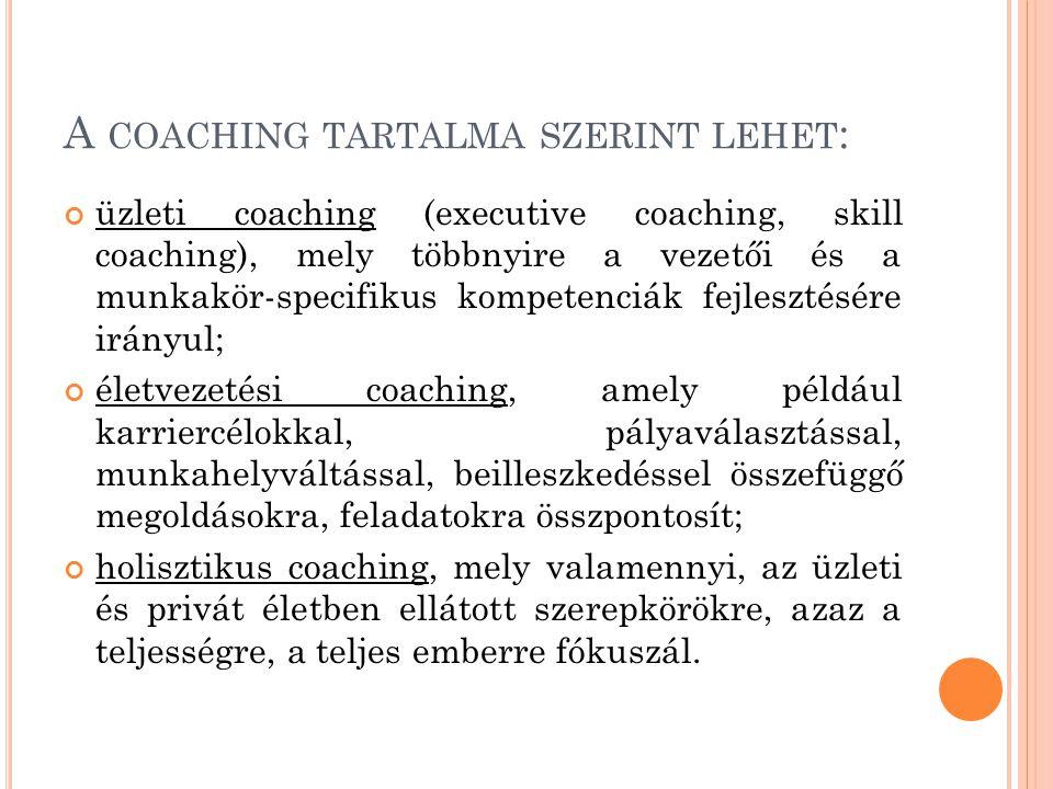 A coaching tartalma szerint lehet: