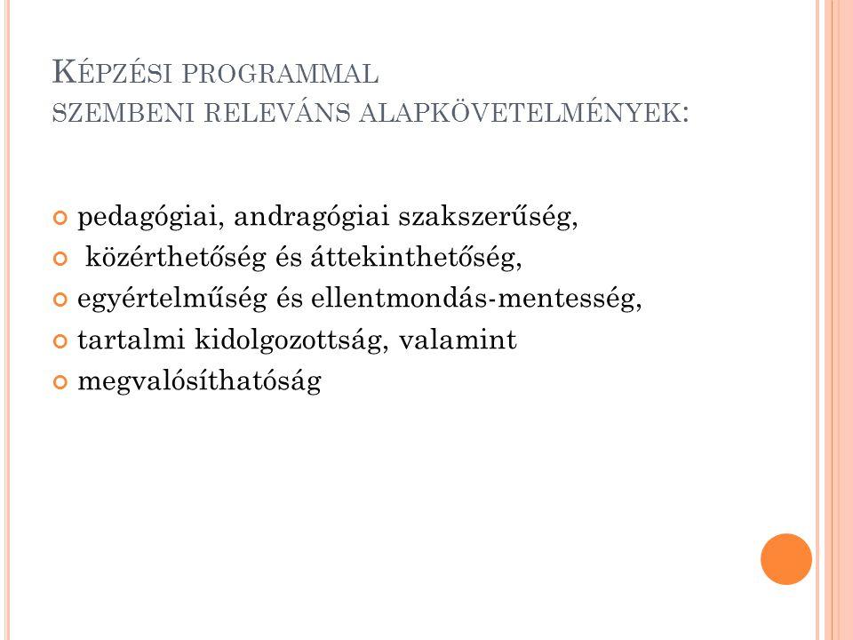Képzési programmal szembeni releváns alapkövetelmények: