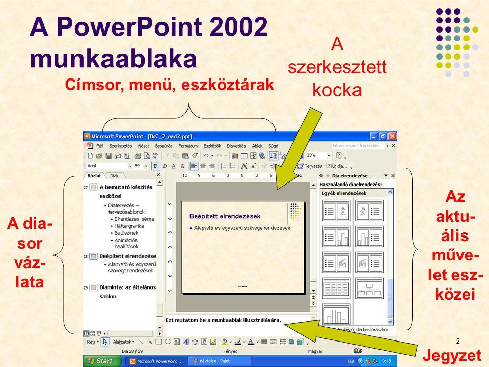 A PowerPoint 2002 munkaablaka