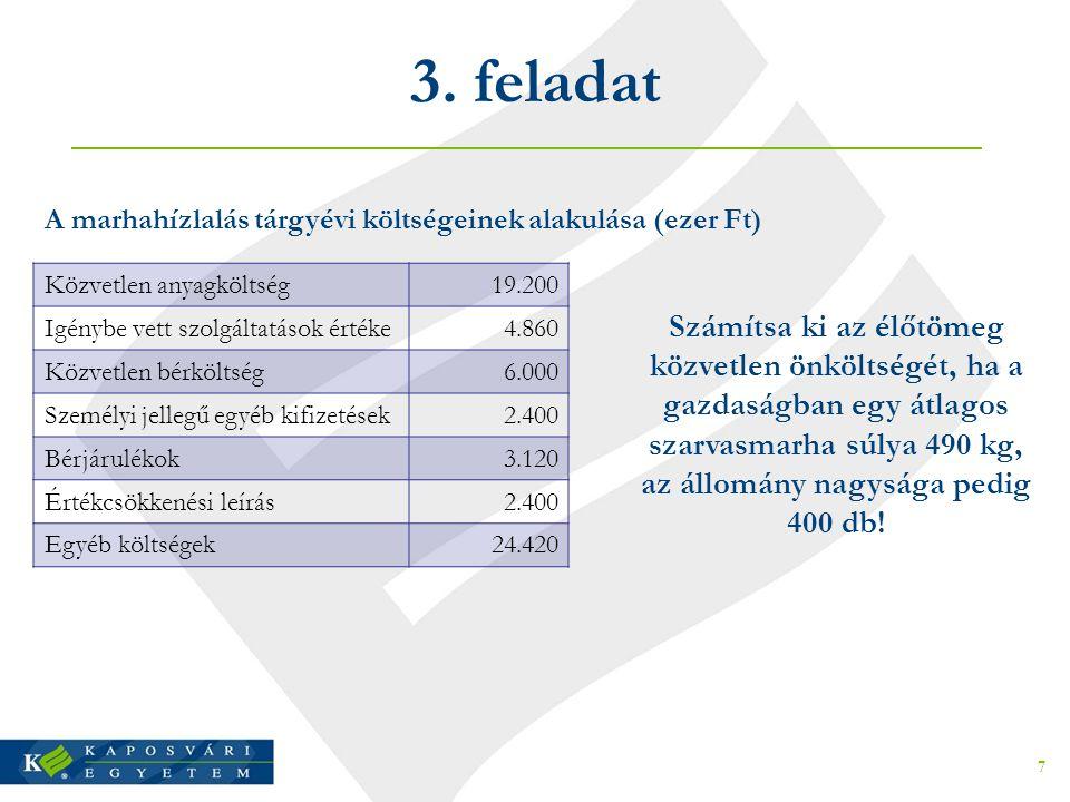 3. feladat A marhahízlalás tárgyévi költségeinek alakulása (ezer Ft) Közvetlen anyagköltség. 19.200.
