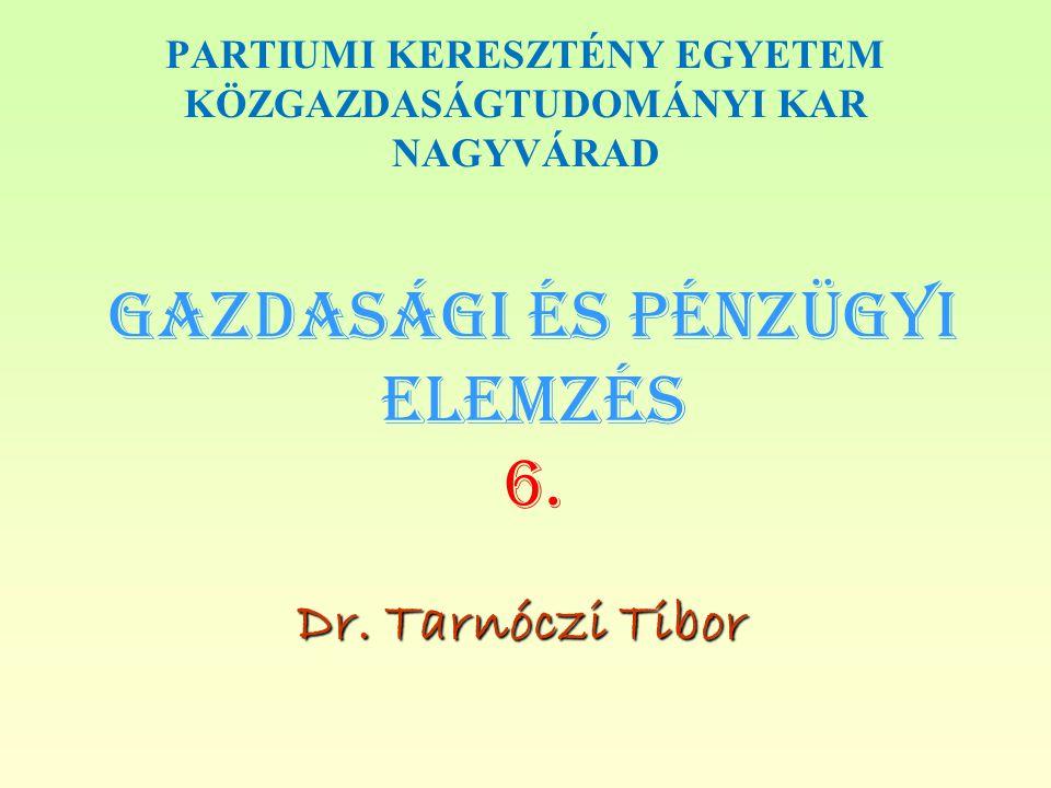 Gazdasági és PÉNZÜGYI Elemzés 6.