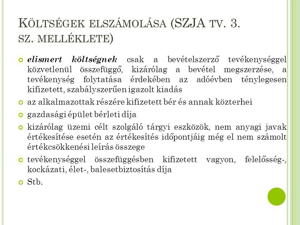 Költségek elszámolása (SZJA tv. 3. sz. melléklete)