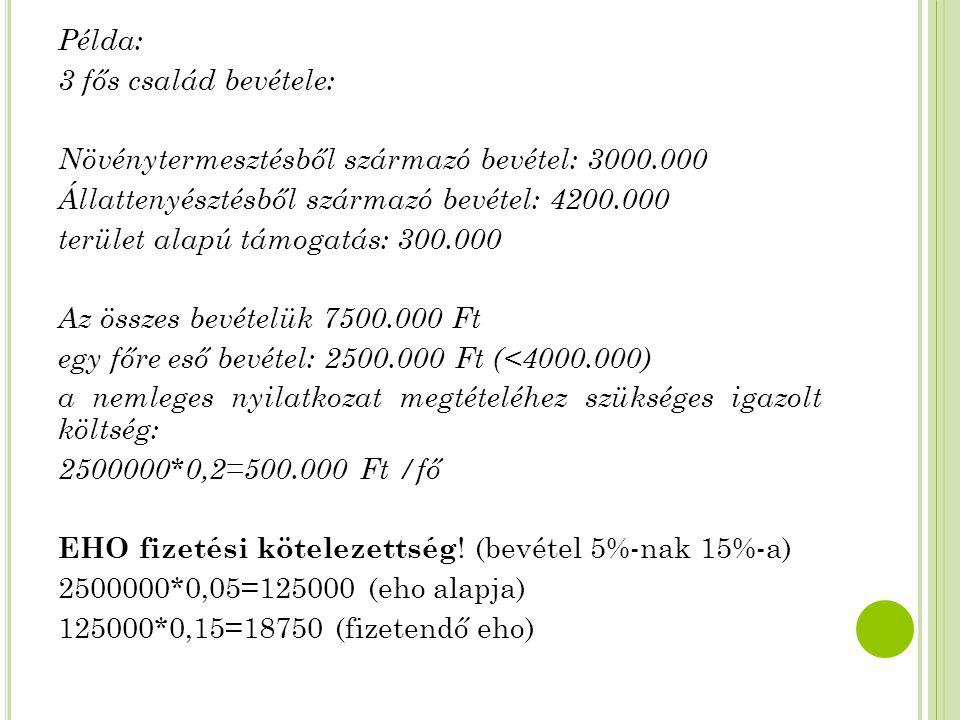 Példa: 3 fős család bevétele: Növénytermesztésből származó bevétel: 3000.000. Állattenyésztésből származó bevétel: 4200.000.