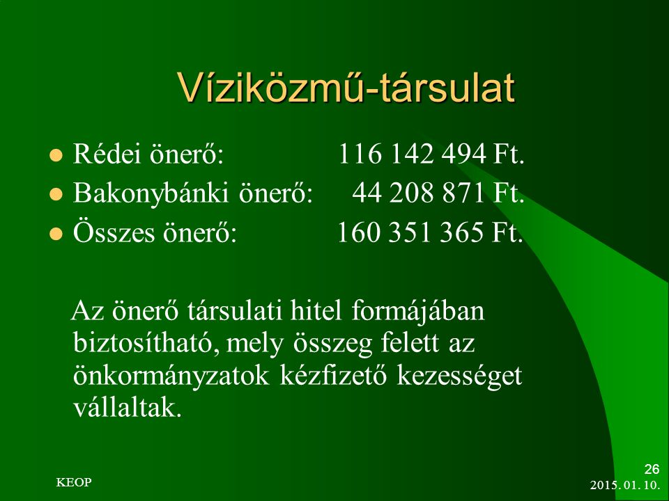 Víziközmű-társulat Rédei önerő: 116 142 494 Ft.