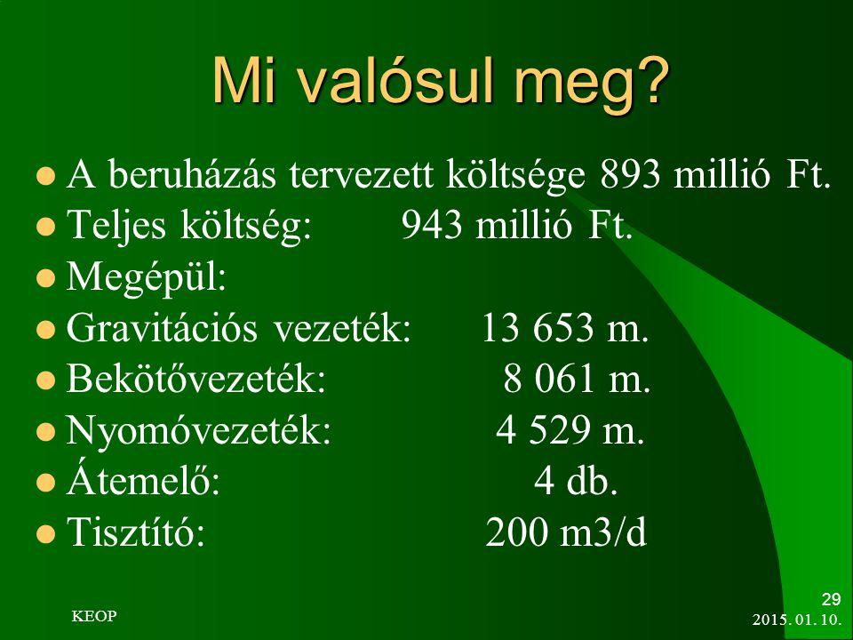 Mi valósul meg A beruházás tervezett költsége 893 millió Ft.