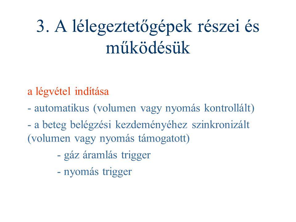 3. A lélegeztetőgépek részei és működésük