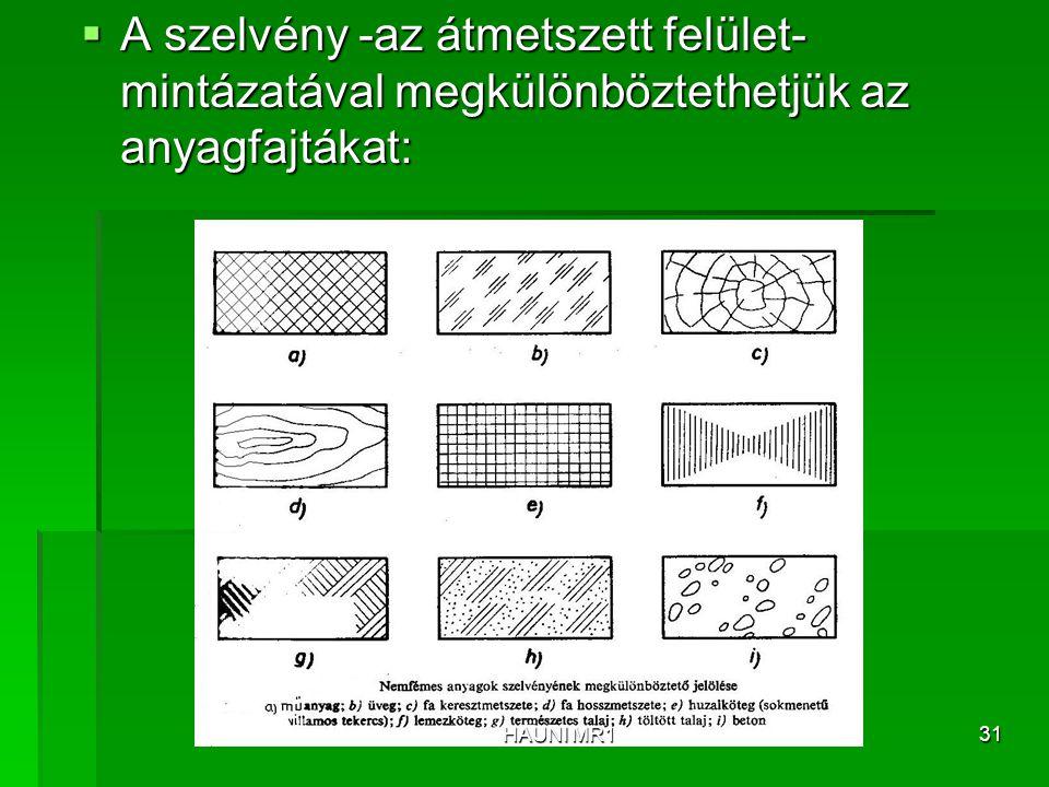 A szelvény -az átmetszett felület- mintázatával megkülönböztethetjük az anyagfajtákat: