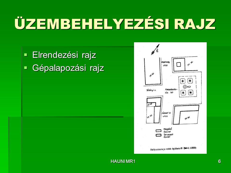ÜZEMBEHELYEZÉSI RAJZ Elrendezési rajz Gépalapozási rajz HAUNI MR1