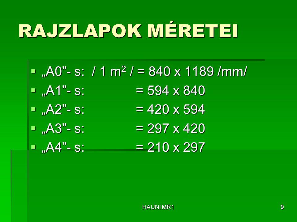 """RAJZLAPOK MÉRETEI """"A0 - s: / 1 m2 / = 840 x 1189 /mm/"""