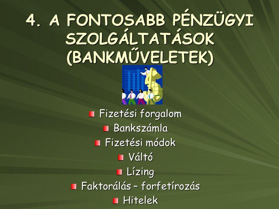 4. A FONTOSABB PÉNZÜGYI SZOLGÁLTATÁSOK (BANKMŰVELETEK)