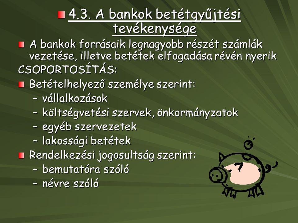 4.3. A bankok betétgyűjtési tevékenysége