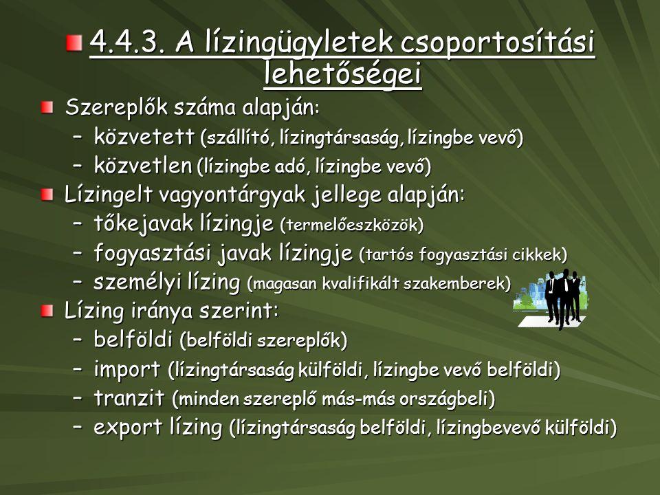 4.4.3. A lízingügyletek csoportosítási lehetőségei
