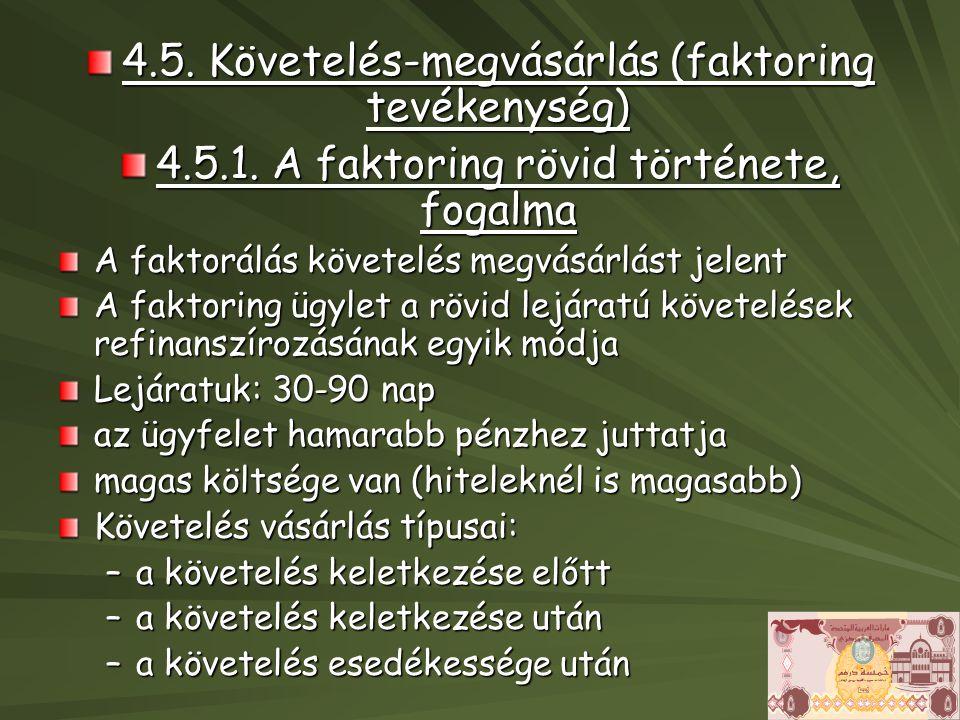 4.5. Követelés-megvásárlás (faktoring tevékenység)