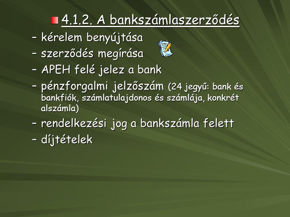 4.1.2. A bankszámlaszerződés