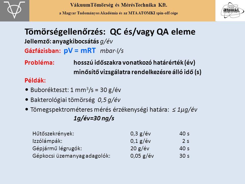 Tömörségellenőrzés: QC és/vagy QA eleme