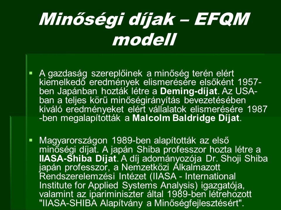 Minőségi díjak – EFQM modell