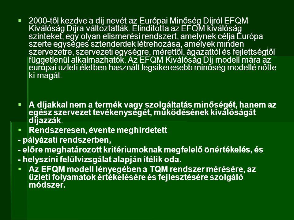 2000-től kezdve a díj nevét az Európai Minőség Díjról EFQM Kiválóság Díjra változtatták. Elindította az EFQM kiválóság szinteket, egy olyan elismerési rendszert, amelynek célja Európa szerte egységes sztenderdek létrehozása, amelyek minden szervezetre, szervezeti egységre, mérettől, ágazattól és fejlettségtől függetlenül alkalmazhatók. Az EFQM Kiválóság Díj modell mára az európai üzleti életben használt legsikeresebb minőség modellé nőtte ki magát.