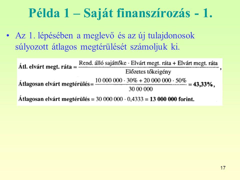 Példa 1 – Saját finanszírozás - 1.