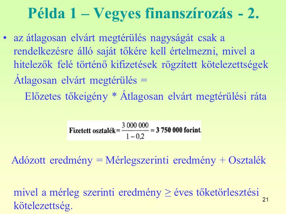 Példa 1 – Vegyes finanszírozás - 2.