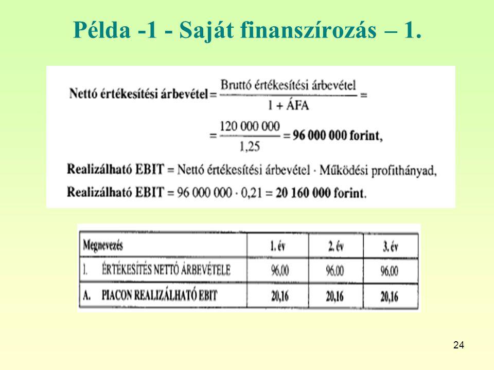 Példa -1 - Saját finanszírozás – 1.