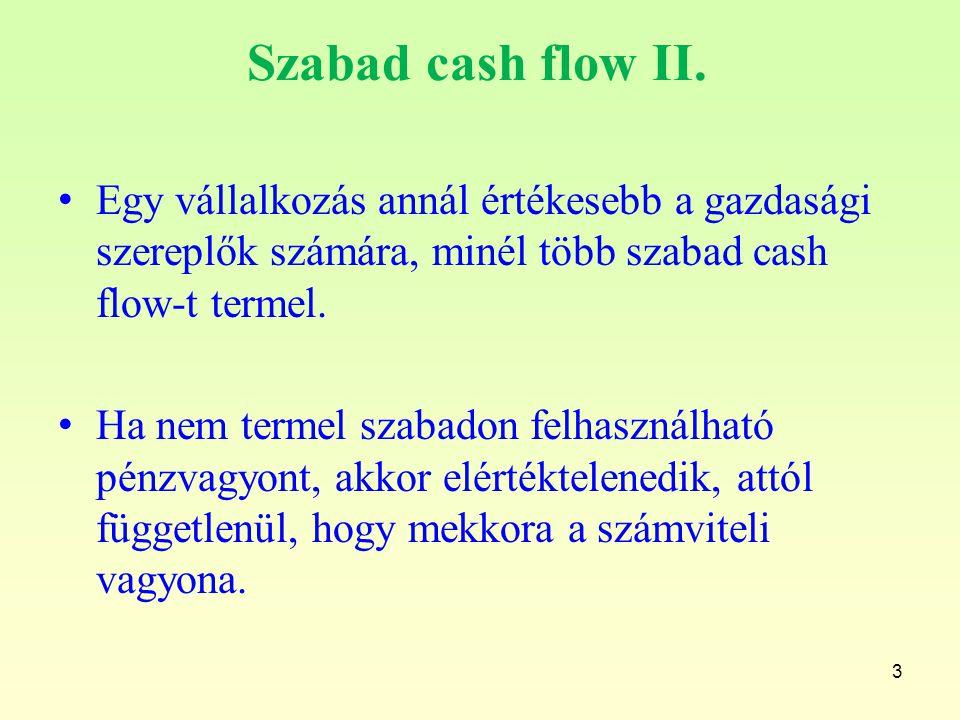 Szabad cash flow II. Egy vállalkozás annál értékesebb a gazdasági szereplők számára, minél több szabad cash flow-t termel.