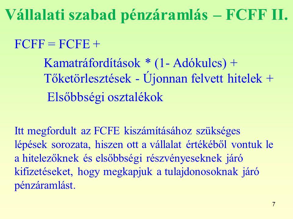 Vállalati szabad pénzáramlás – FCFF II.