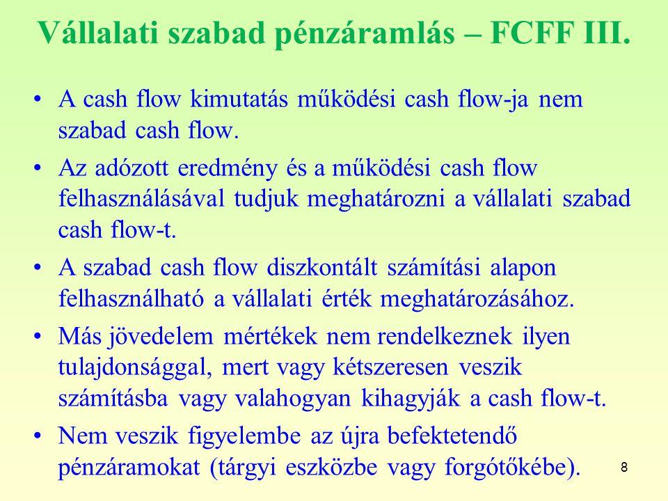 Vállalati szabad pénzáramlás – FCFF III.