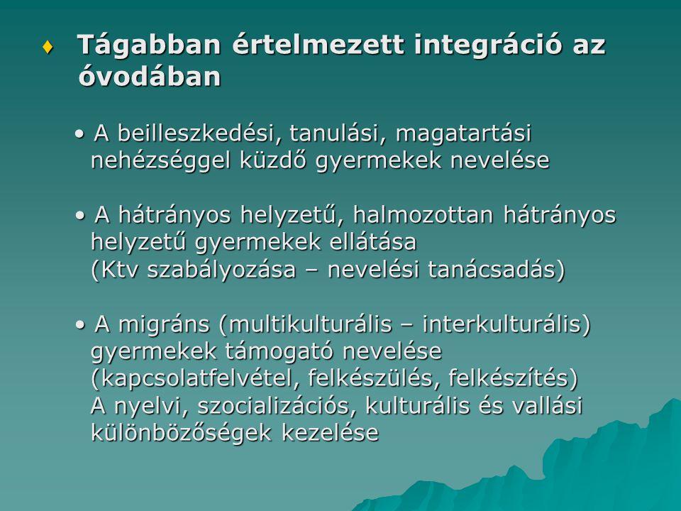 óvodában ♦ Tágabban értelmezett integráció az