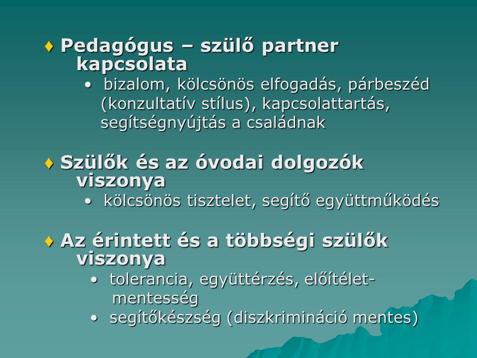 ♦ Pedagógus – szülő partner kapcsolata