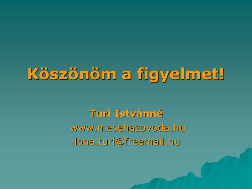 Köszönöm a figyelmet! Turi Istvánné www.mesehazovoda.hu