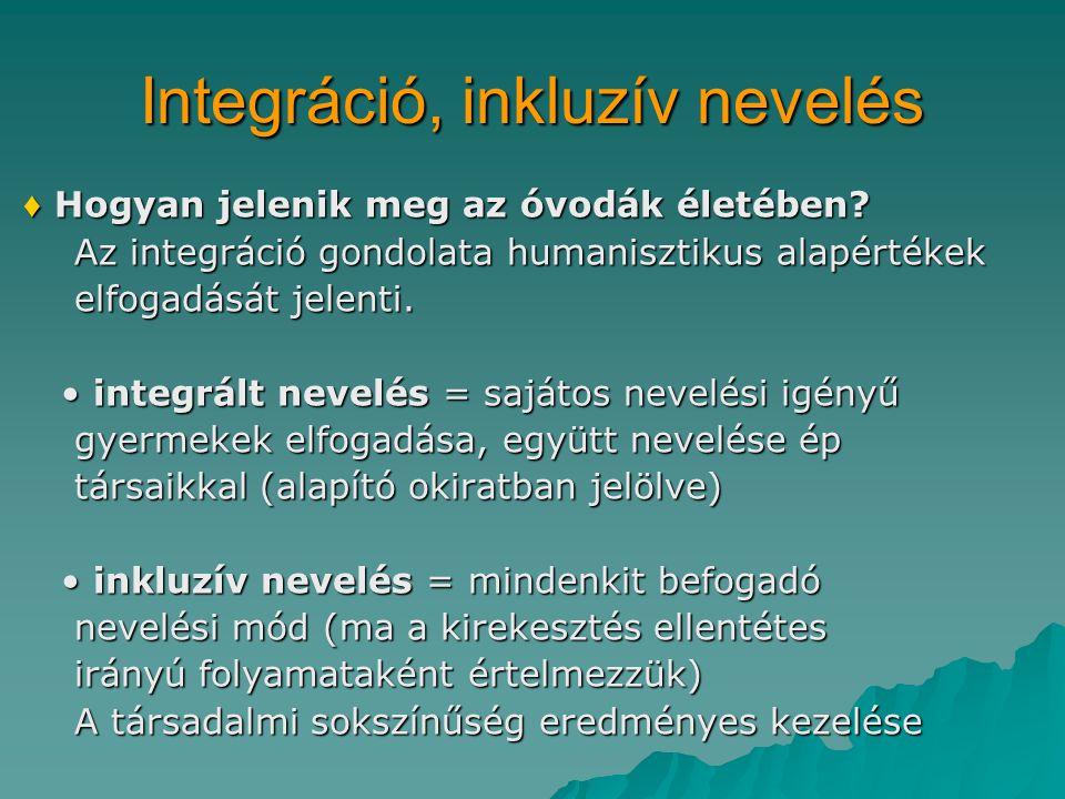 Integráció, inkluzív nevelés