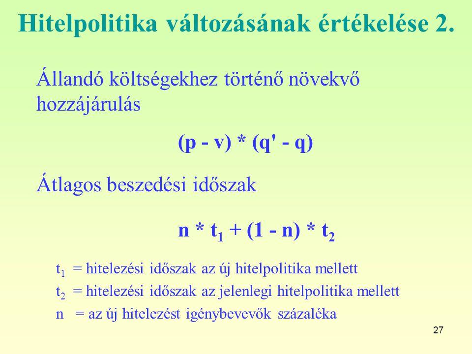 Hitelpolitika változásának értékelése 2.
