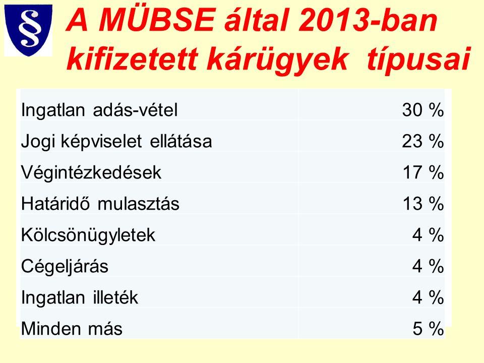 A MÜBSE által 2013-ban kifizetett kárügyek típusai