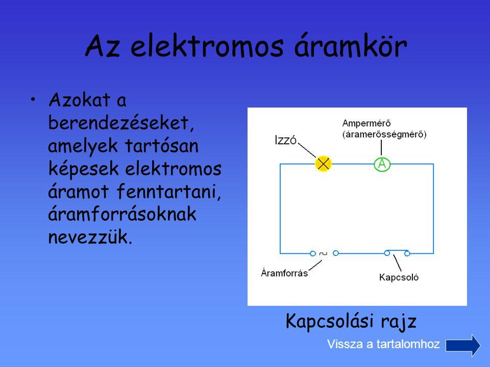 Az elektromos áramkör Azokat a berendezéseket, amelyek tartósan képesek elektromos áramot fenntartani, áramforrásoknak nevezzük.
