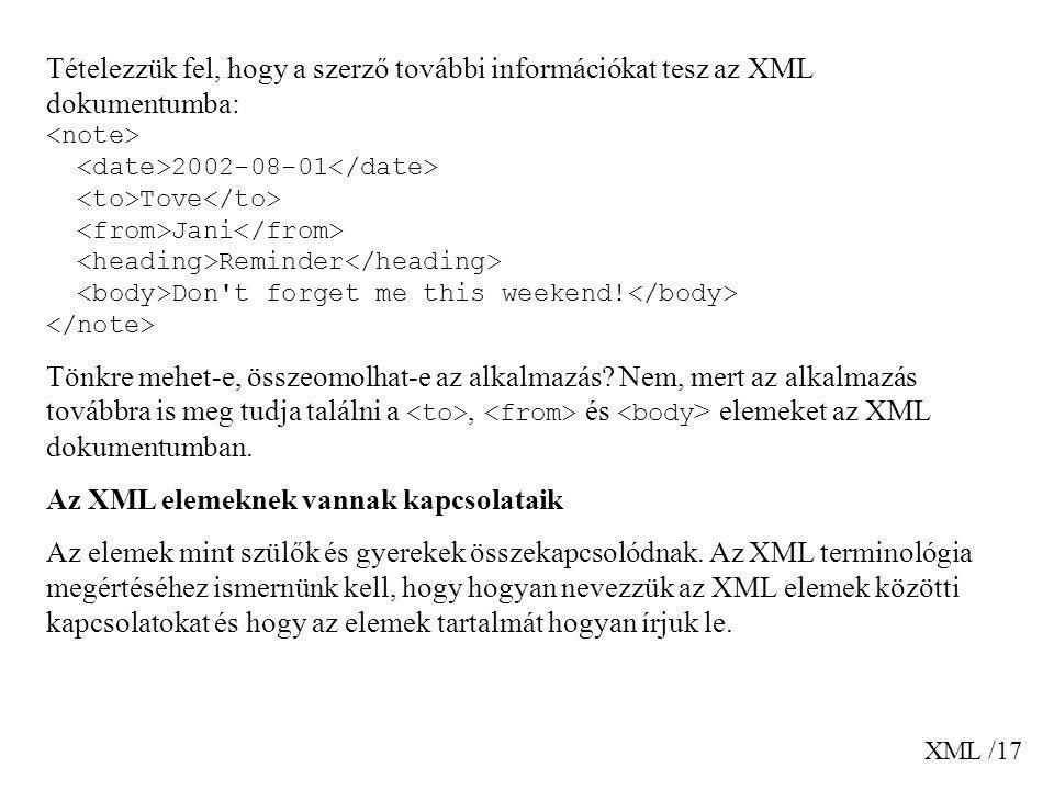 Az XML elemeknek vannak kapcsolataik