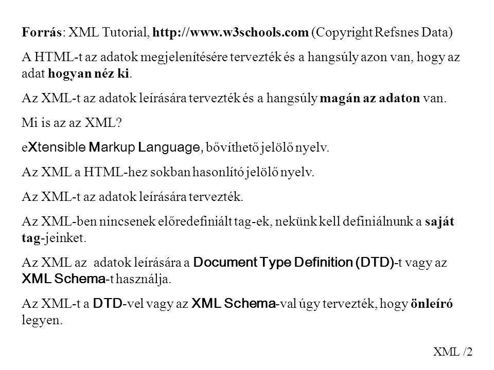 eXtensible Markup Language, bővíthető jelölő nyelv.