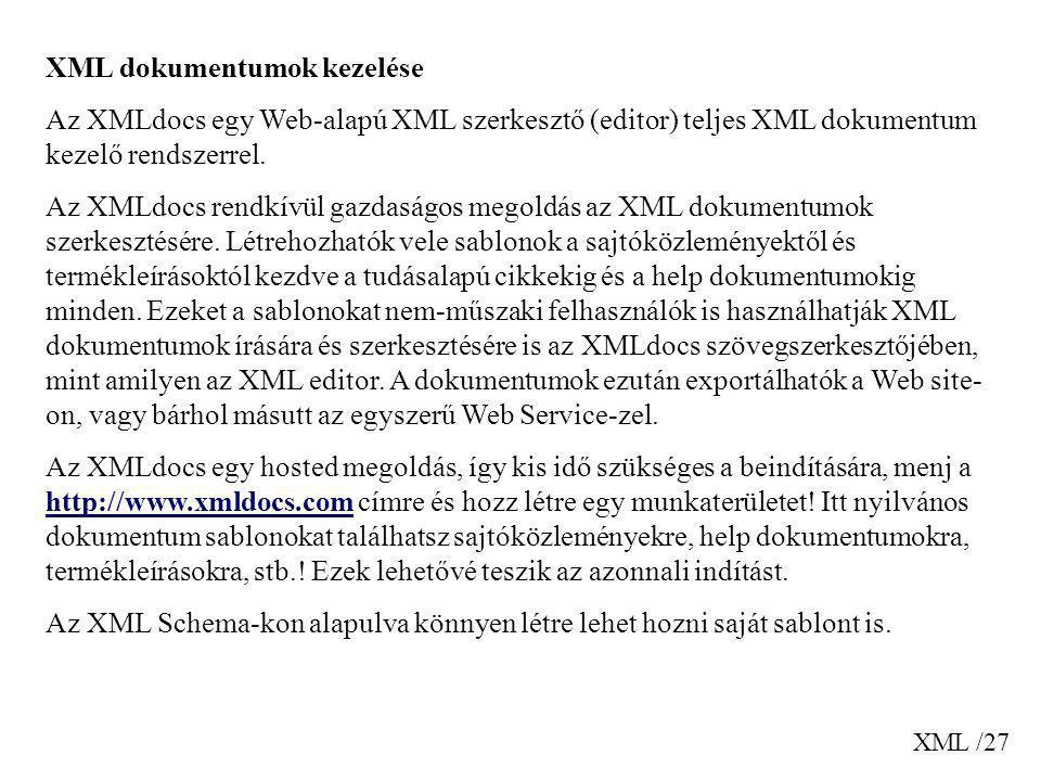 XML dokumentumok kezelése